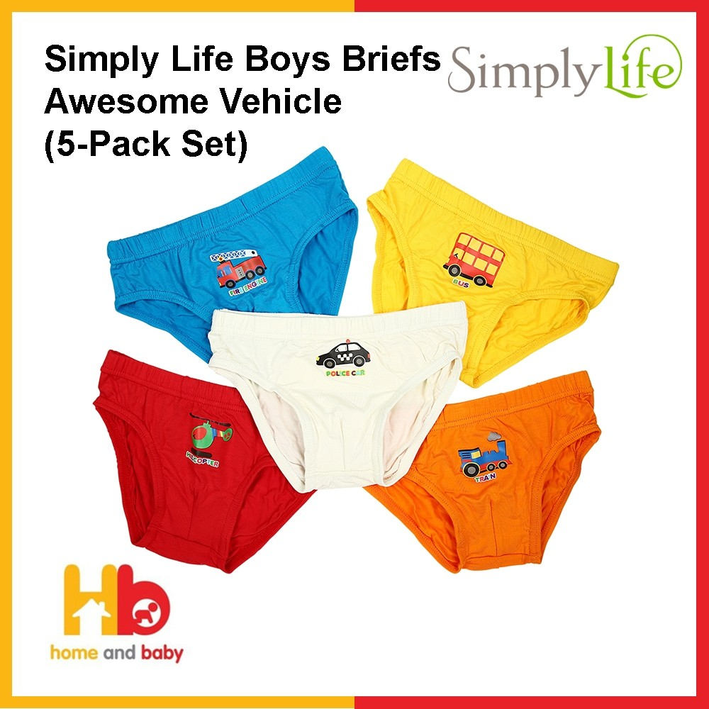 Simply Life Boys Briefs - Awesome Vehicle (5-Pack Set)