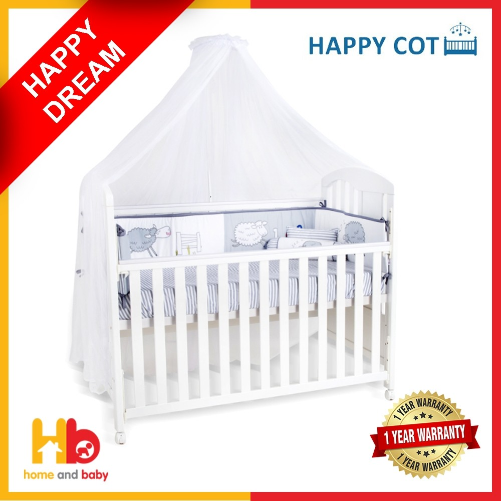 Happy Dream 4-in-1 Convertible Baby Cot – with Mattress and Bedding Bundle Set