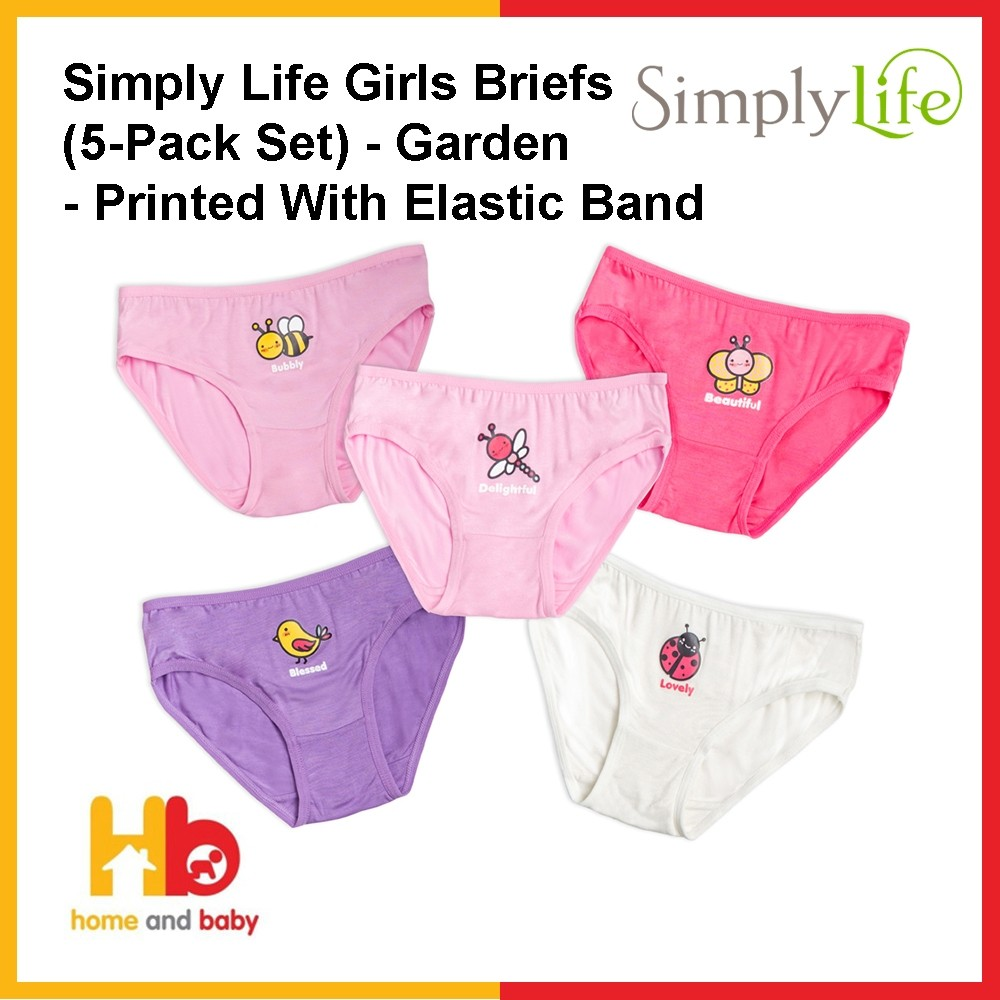 Simply Life Girls Briefs (5-Pack Set) - Garden - Printed With Elastic Band