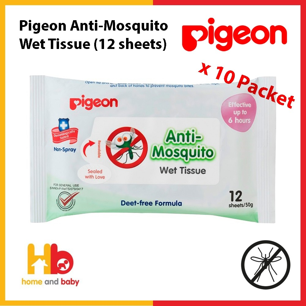 Pigeon Wet Tissue Anti-Mosquito (12 sheets x10 packet)
