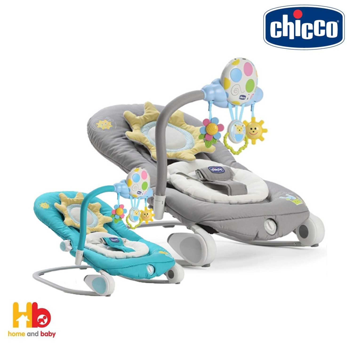 97e059a889d3 Chicco Balloon Baby Bouncer - Dark Grey   Turquoise - Baby